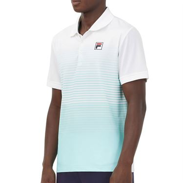 Fila Legends Ombre Stripe Polo Shirt Mens White/Stripe Fade/Beach Glass TM036835 100
