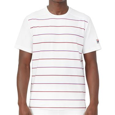 Fila Heritage Tennis Stripe Crew Shirt Mens White TM036841 100