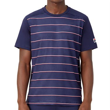 Fila Heritage Tennis Stripe Crew Shirt Mens Navy TM036841 412