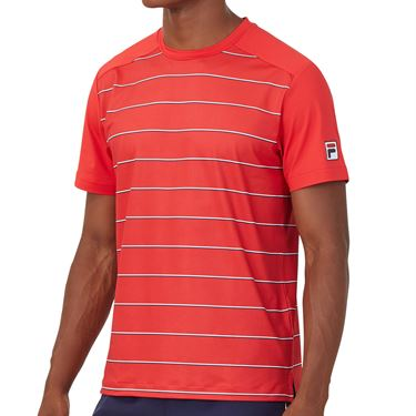 Fila Heritage Tennis Stripe Crew Shirt Mens Chinese Red TM036841 622