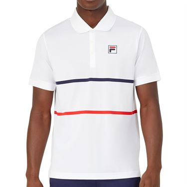 Fila Heritage Tennis Stripe Polo Shirt Mens White/Navy/Chinese Red TM036842 100