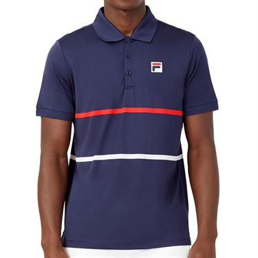 Fila Heritage Tennis Stripe Polo Shirt Mens Navy/Chinese Red/White TM036842 412