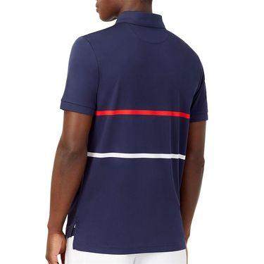 Fila Heritage Tennis Stripe Polo Shirt Mens Navy/Chinese Red/White TM036842 412