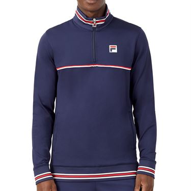 Fila Heritage Tennis 1/4 Zip Mens Navy/Chinese Red/White TM036843 412
