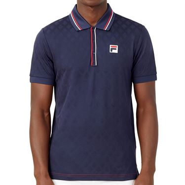 Fila Heritage Tennis Jaquard Polo Shirt Mens Navy TM036845 412