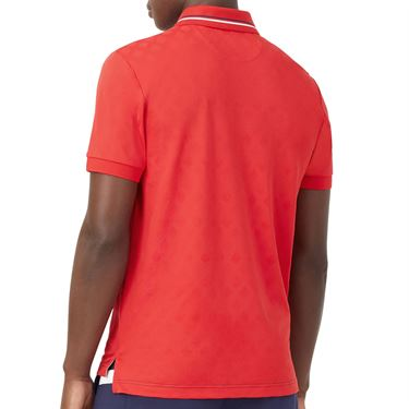 Fila Heritage Tennis Jaquard Polo Shirt Mens Chinese Red TM036845 622