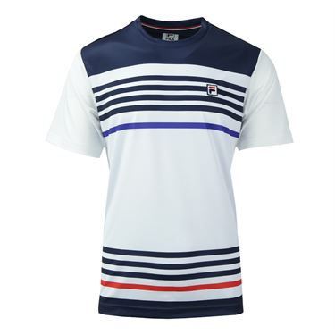 Fila Heritage Stripe Crew - White/Clematis Blue/Chinese Red