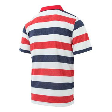Fila Heritage Striped Polo - Red/Navy/White