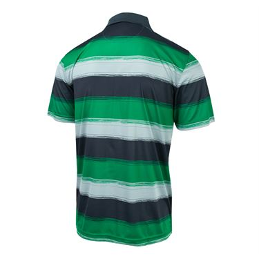 Fila Legends Striped Polo - Bright Green/Ebony/Highrise Print