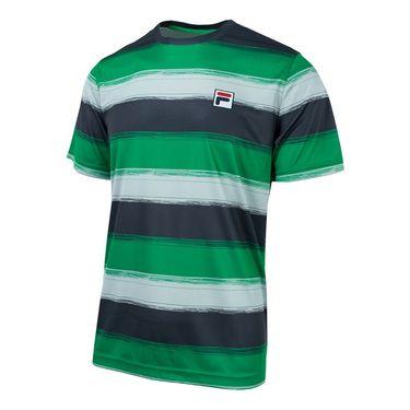 Fila Legends Striped Crew - Bright Green/Ebony/Highrise Print