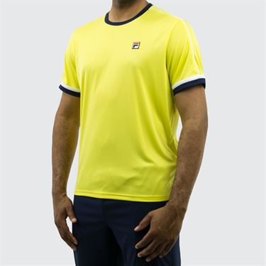 Fila Heritage Piped Crew - Buttercup/Navy/White