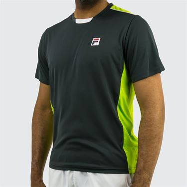 Fila Legend Colorblocked Crew - Ebony/Lime Green/White