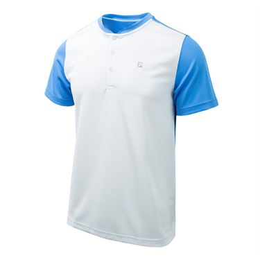 Fila Set Point Henley Shirt - White/Little Boy Blue