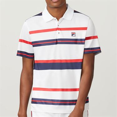 Fila Heritage Striped Polo Mens White TM191941 100