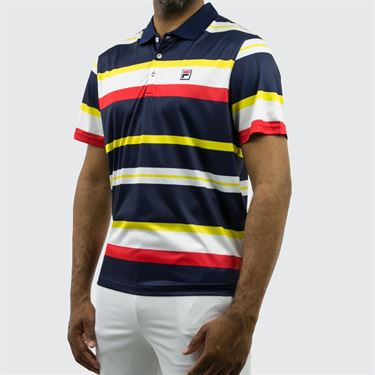 Fila Heritage Striped Polo - Navy
