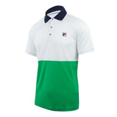Fila Heritage Color Blocked Polo - White/Bright Green/Navy
