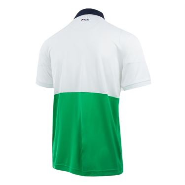 Fila Heritage Color Blocked Polo - White/Bright Green/Navy