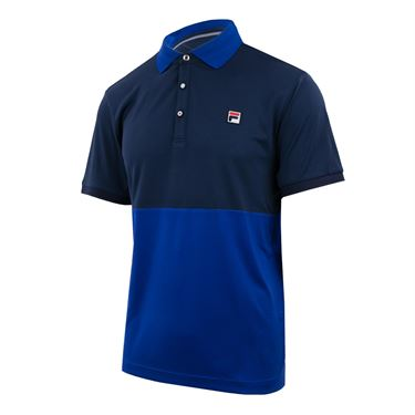 Fila Heritage Color Blocked Polo - Navy/Surf the Web