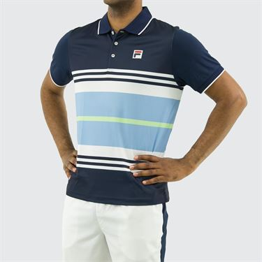 Fila Legend Striped Polo Shirt, Navy/White/Placid Blue