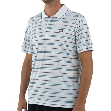 Fila Advantage Striped Polo Mens White/Black/Blue Coral TM932477 100