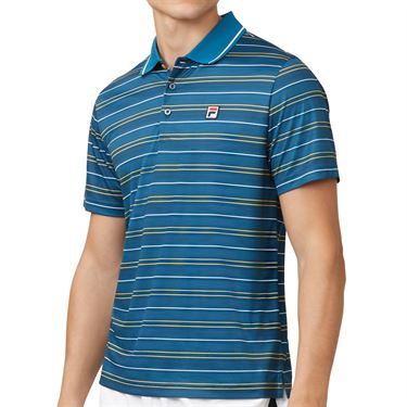 Fila Advantage Striped Polo Mens Blue Coral/White/Saffron TM932477 904
