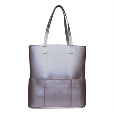 Sports Chic Pebble Grain Tote - Silver