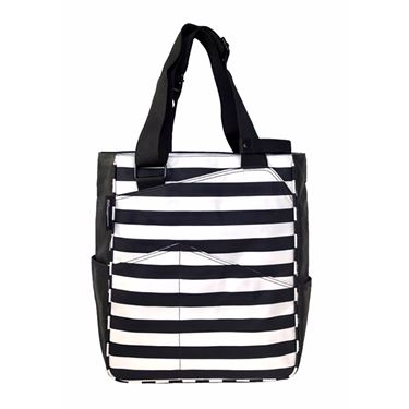 Maggie Mather Tennis Tote Bag - Black/White Stripes