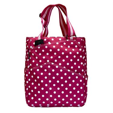 Maggie Mather Tennis Tote Bag - Polka Dots Fuchsia/White
