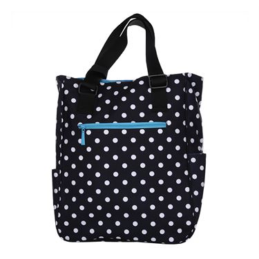 Maggie Mather Tennis Tote - Black/White Polka Dot