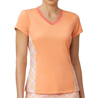 Fila Mad For Plaid V Neck Top Womens Melon/Plaid/Calypso Coral TW015543 879
