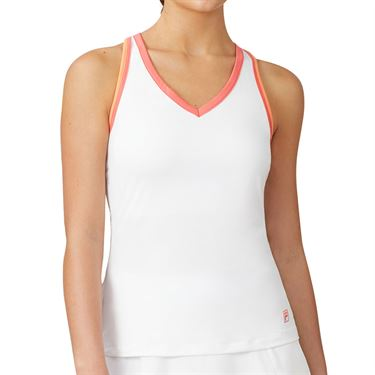 Fila Mad For Plaid Racerback Tank Womens White/Calypso Coral/Melon TW015546 100