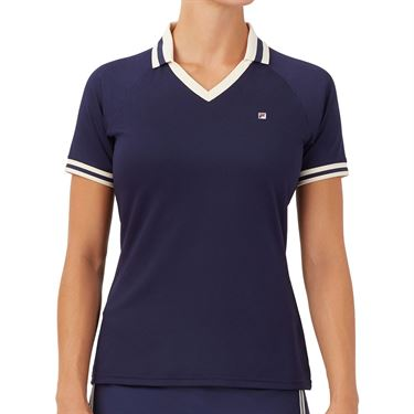 Fila Heritage Polo Shirt Womens Navy/Ecru TW036905 412