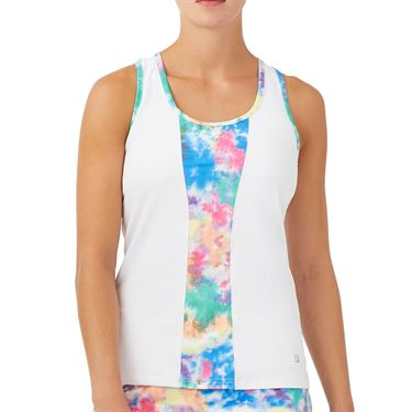 Fila Top Spin Racerback Tank Womens White/Multi Color Tie Dye TW039498 103