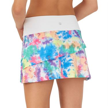 Fila Top Spin Tiered Skirt Womens White/Multi Color Tie Dye TW039511 103