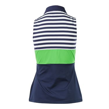 Fila Heritage Sleeveless Polo - Navy/Online Lime/White
