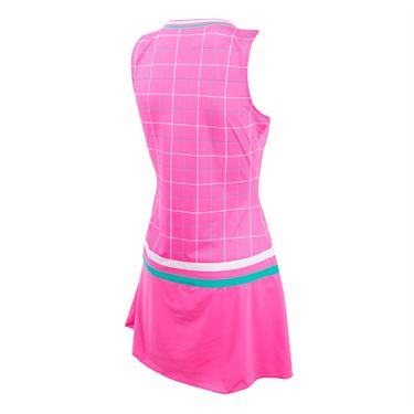 Fila Windowpane Dress - Miami Pink/Windowpane Print/White/Atlantis