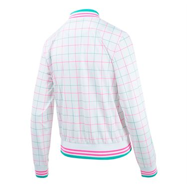 Fila Windowpane Jacket - White Windowpane Print/Miami Pink/Atlantis