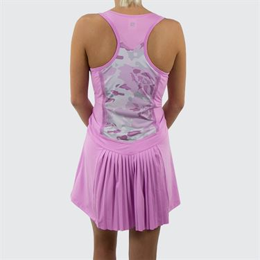 Fila Love Actually Pleated Dress - Acid Orchid/Orchid Floral Camo Print