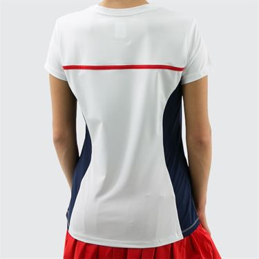 Fila Heritage Short Sleeve Top - White/Navy/Chinese Red