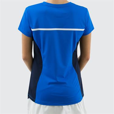 Fila Heritage Short Sleeve Top - Electric Blue/Navy/White