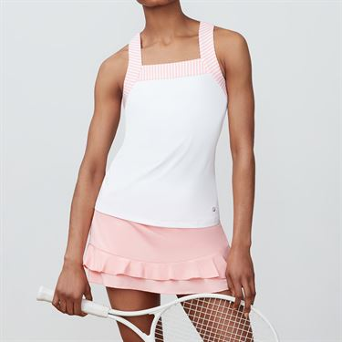 Fila Stripe Trim Tank - White/Light Pink Stripe
