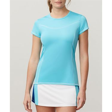 Fila Aqua Cap Sleeve Top - Blue Curacao/White