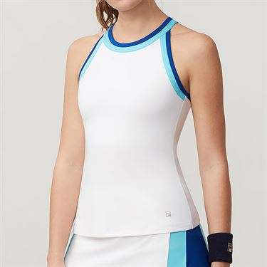 Fila Aqua Halter Tank - White/Blue Curacao/French Blue