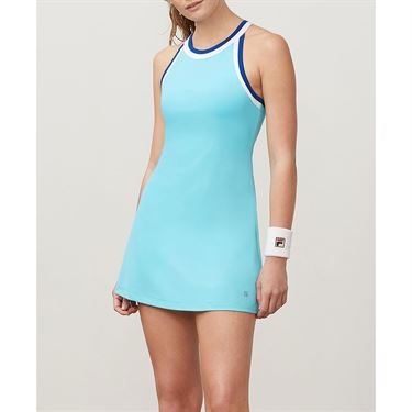 Fila Aqua Halter Dress - Blue Curacao/White/French Blue