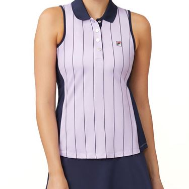 Fila Heritage Sleeveless Polo Top Womens Pastel Lilac/Navy TW932795 591