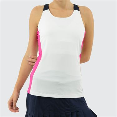 Fila Awning Colorblocked Tank Womens White/Fuchsia Purple/Navy TW933484 100