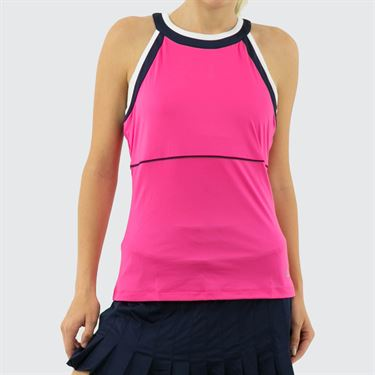 Fila Awning Halter Tank Womens Fuchsia Purple/Navy/White TW933485 677
