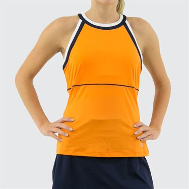 Fila Awning Halter Tank Womens Orange Peel/Navy/White TW933485 815