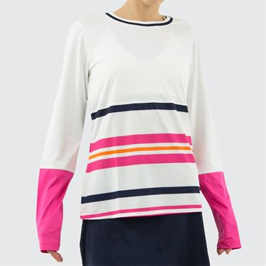 Fila Awning Long Sleeve Top Womens White/Fuchsia Purple/Navy TW933495 100