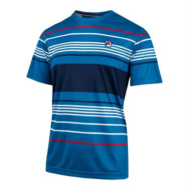 Fila Heritage Striped Crew - Turkish Tile/Navy/White/Chinese Red